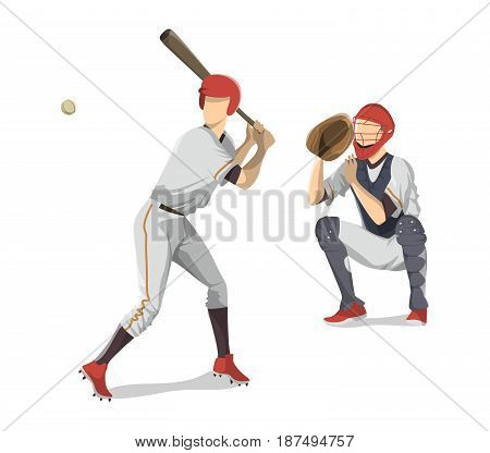 Baseball players team on white background. Catcher and man with bat.