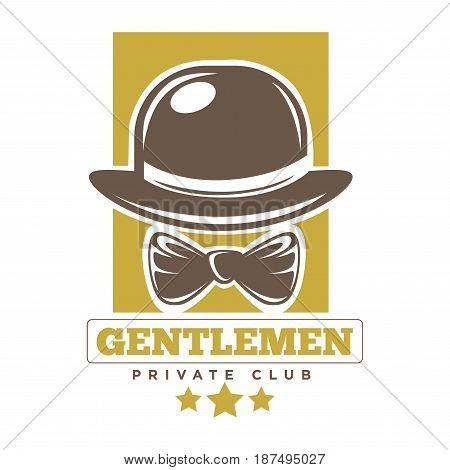Private gentlemen club logotype with round brown hat and tie against yellow rectangular shape with inscription below isolated on white. Entertainment and relaxation place label for men template