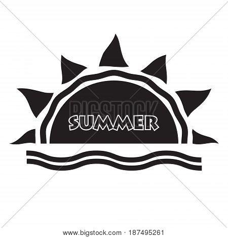 Summer logo typography poster on orange sunrays background. Vector illustration design logo poster.