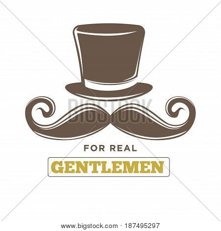 Exclusive real gentlemens club old-fashioned vintage emblem logo design. Brown tall hat, curled mustache and big name sign in thin frame underneath isolated vector illustration on white background.