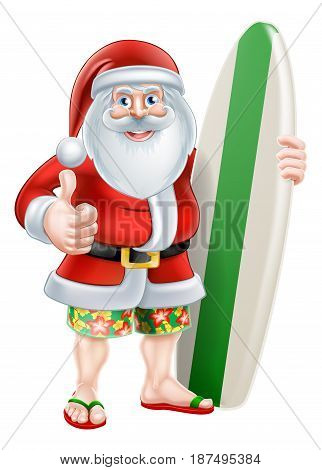 Christmas cartoon of Santa giving a thumbs up in his board shorts and sandals holding a surf board