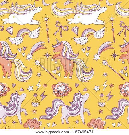 Seamless pattern with funny magic elements. Unicorn, wizard and miracle. Vector background with unicorn fantasy illustration
