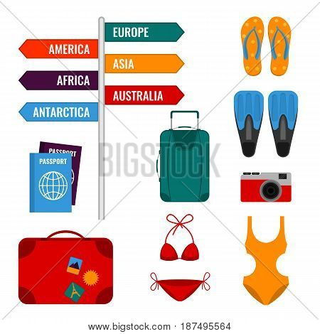 Summer holidays set with direction signs, luggage suitcases, swimming suits, international passports, photo camera and flippers vector illustration