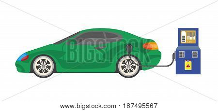 Electrocar battery charging colorful vector illustration in flat design on white. Green automobile standing near post while refueling ecologically. Healthy way for environment of car filling up