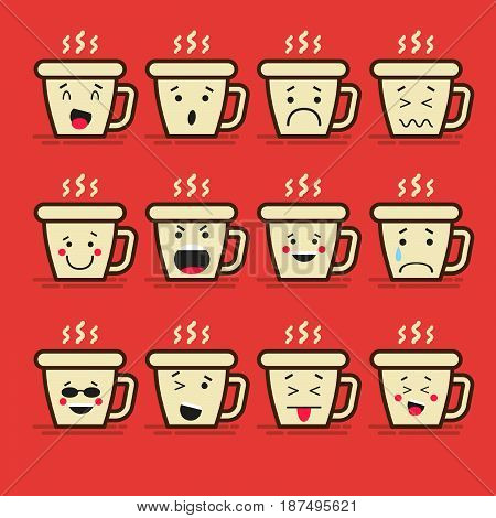 Set of 12 modern flat emoticons: Coffee or tea, cup and steam, hot drink, smile, sadness and other emotions. Vector illustration isolated of red background
