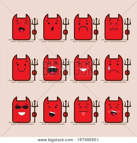Set of 12 modern flat emoticons: devil, monster, lucifer smile, sadness and other emotions. Vector illustration isolated of color background
