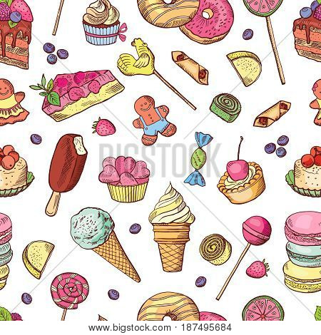 Vector seamless pattern of candies, ice cream, cake and other different sweets. Hand drawn illustrations. Sweet food pattern seamless, chocolate ice cream and cupcake