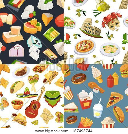 Big seamless pattern set with different worldwide cuisines of mexico, europe and italy. Vector fast food illustrations in cartoon style and italian food