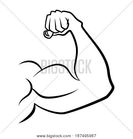 Strong hand with muscles. Vector handdrawn icon. Hand muscle linear illustration