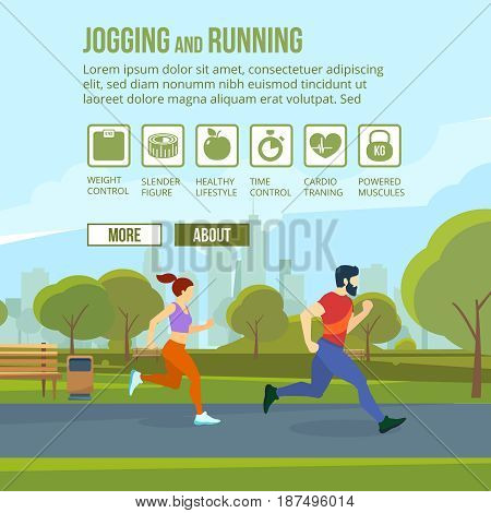 Infographic set with runners and training elements. Fitness man and woman. Outdoor exercises, jogging and running. Vector illustration with place for your text