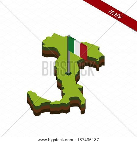 Italy Isometric Map And Flag. Vector Illustration.