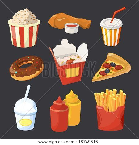 Vector collection of fast food pictures in cartoon style. Pizza and drink, snack donut and fast food illustration