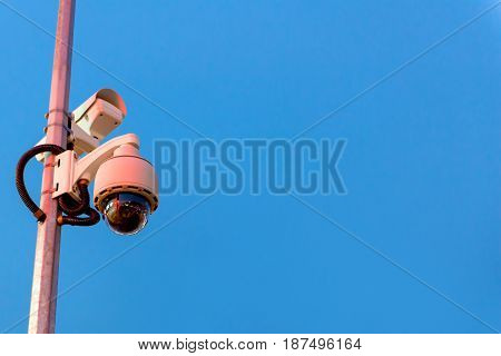 Security Cctv Camera And Urban Video In Twilight Time