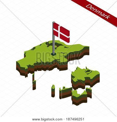 Denmark Isometric Map And Flag. Vector Illustration.