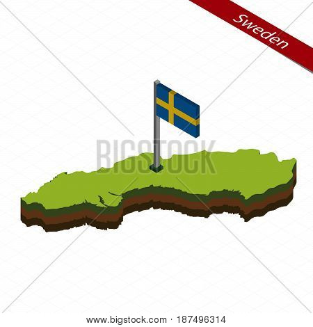 Sweden Isometric Map And Flag. Vector Illustration.