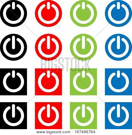 Power On / Off Switch Icon, Sign / Symbol  Raster Illustration