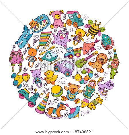 Childrens toys icon set in circle shape. Doodle vector illustration. Colored toys for baby children game