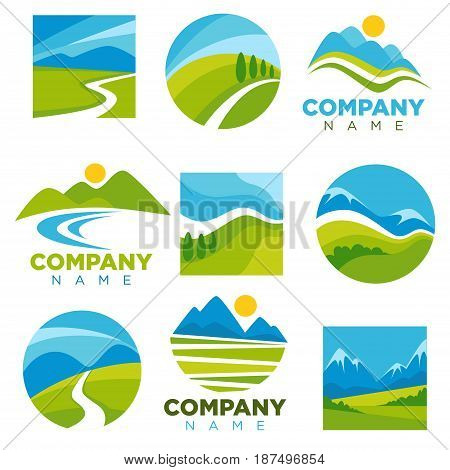 Landscape logotypes collection with space for company name. Colorful vector illustration in flat design of icons with scenic nature isolated on white. Labels poster with outdoors views template