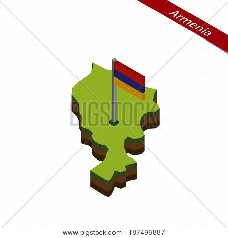 Armenia Isometric Map And Flag. Vector Illustration.