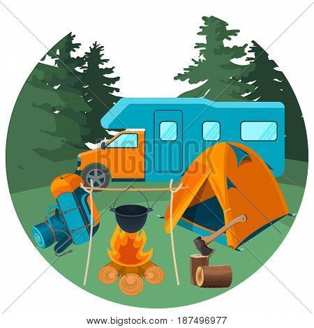 Caravan in forest with picnic equipment. Accessories for camping rest and hiking activities vector illustration. Outdoor vacation concept