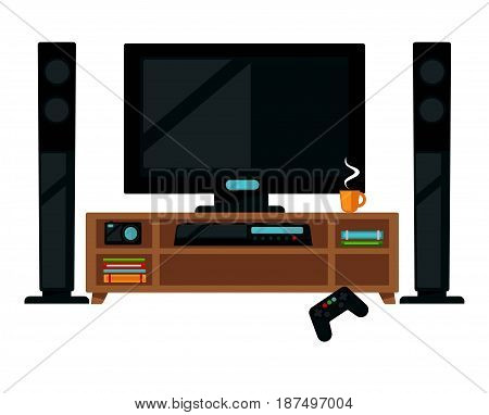 Vector illustration of TV set with gamepad and coffee isolated on white.