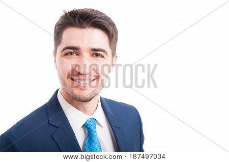 Portrait Of Smiling Handsome Salesman