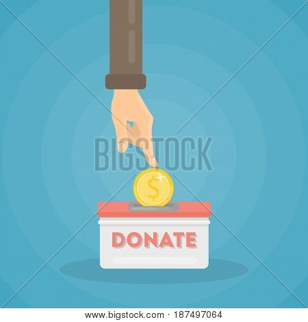 Putting coin in donate box. Hand with money.