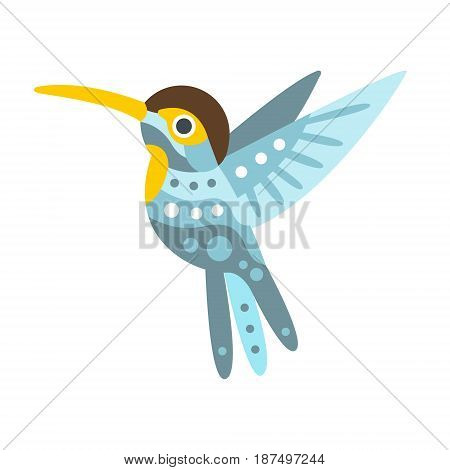 Broad billed hummingbird colorful cartoon character vector Illustration isolated on a white background