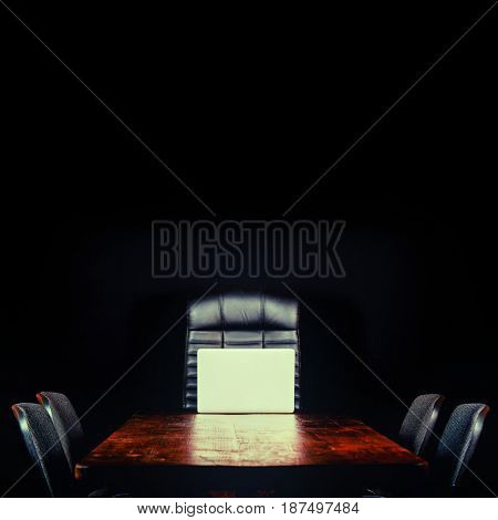 blank desktop on a black background
