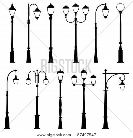 Set of street lamps on white background, vector illustration
