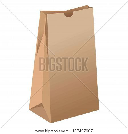 Brown empty unused paper package without handles for grocery products that stands sideways isolated on white background. Container made of natural ecologically pure material vector illustration.
