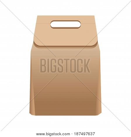 Full simple square brown paper bag of average size with convenient cardboard handle isolated vector illustration on white background. Safe for ecology universal container that can be recycled.