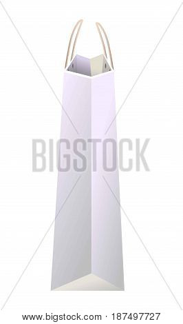 White paper unused empty shopping bag of average size for light products, clothes and other small purchases with thin handles from side view isolated vector illustration on white background.