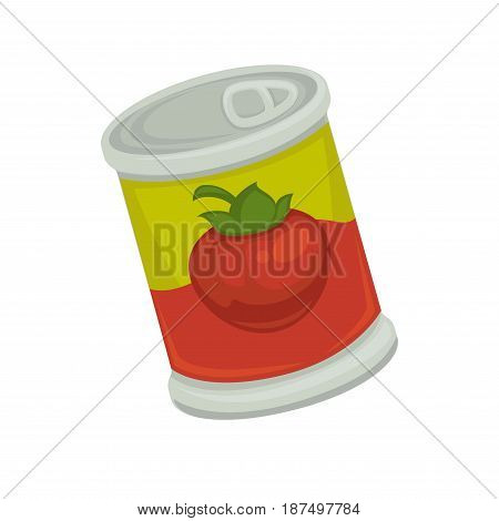 Cartoon canned strawberry in bright bicolor solid tin container with comfortable and fast opening isolated on white background. Long-term storage sweet natural seasonal food vector illustration.