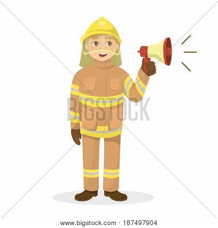 Isolated fireman with megaphone on white background.