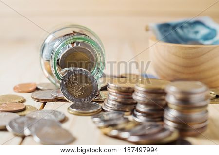 Saving money and account finance banking business concept