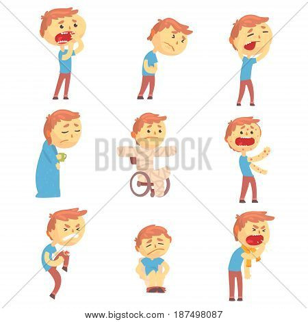 Sick men set of people with pain and diseases. Colorful cartoon characters vector Illustrations isolated on a white background