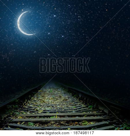 a railway at night