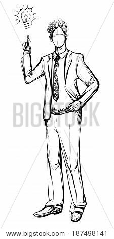 Man in business suit hand drawn vector sketch. Idea concept with man and lightbulb. Black and white line illustration.