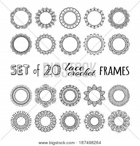 Vector Set Of 20 Lace Crochet Round Frames.