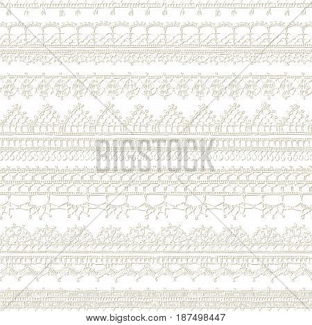 Vector White Seamless Pattern Of Lacy Crochet Edges.