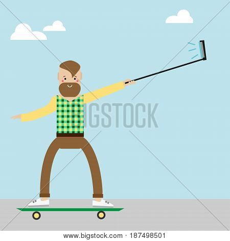 Hipster man character on skateboard making selfie photo with selfie stick. Vector illustration. Modern smiling man riding skate outdoor activity