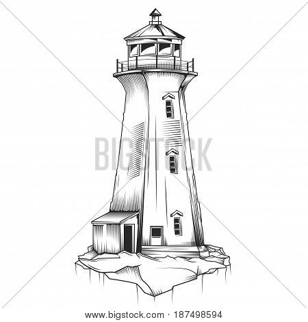 Isolated illustration of old lighthouse. Hand drawn vector illustration.