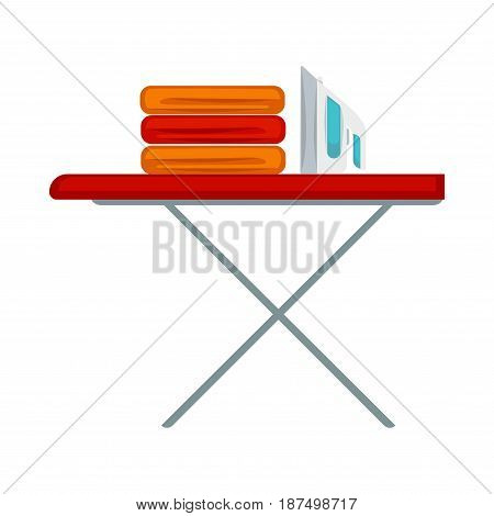 Pile of carefully folded colorful clothes and modern convenient iron placed on red pressboard with steady metal legs isolated on white background. Daily routine procedures vector illustration.