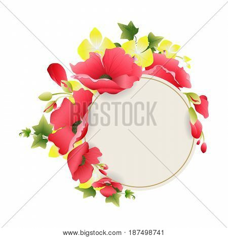 Isolated floral frame on white background. Element of decoration. Yellow and red flowers.