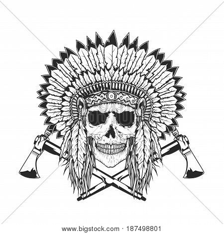 American Indian Chief Skull With Tomahawk. Isolated hand drawn illustration.