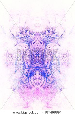 floral ornamental structure with filigrane pattern mandala on abstract background. Winter effect