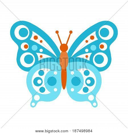 Blue butterfly with open wings vector Illustration isolated on a white background