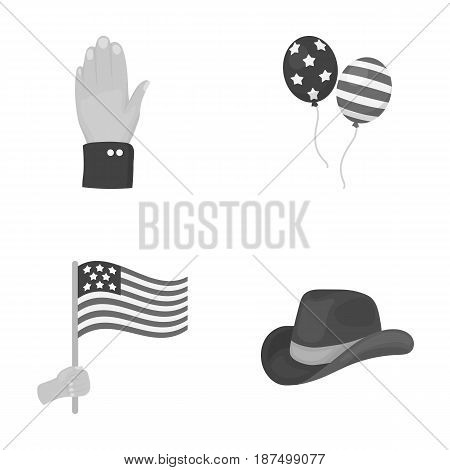 Balloons, national flag, cowboy hat, palm hand.Patriot day set collection icons in monochrome style vector symbol stock illustration .