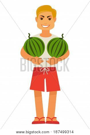 Smiling male person holds two watermelons full length portrait. Vector illustration in flat design of man in t-shirt, red shorts and flip flops stands with juicy seasonal summer fruit in hands